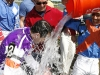 Joe Bravo gets a bath from jockey Paco Lopez celebrating a milestone