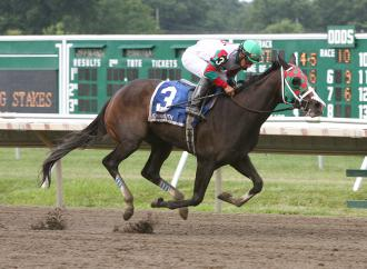 Ju Ju Eyeballs, ridden by Paco Lopez, stretched his winning streak to five races with Sunday's victory in the Just Smashing Stakes.