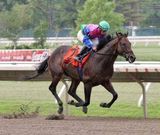 Itsmyluckyday cruised to victory Saturday in the Majestic Light Stakes at Monmouth Park