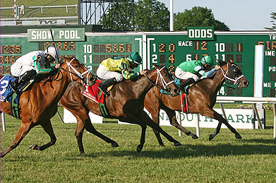 Sweet Emma Rose (R) #9 with Abel Lezcano riding noses out hard charging Rogue Lady (C) #1 and Gabriel Saez who finished 2nd and Red Minx (L) #3 and Eddie Castro finishing third in the $60,000 Crank It Up Stakes at Monmouth Park on Saturday June 7, 2014