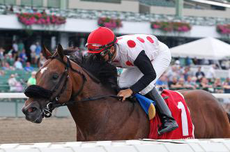 Souper Colossal dominated by 3 1/2 lengths as the favorite Sunday in the Tyro Stakes at Monmouth Park