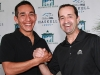 13-time Leading Rider at Monmouth Park, Jockey Joe Bravo (R) will return to Monmouth Park for the 2015 season and attempt to wrestle back the title from 2014 Leading Rider Paco Lopez (L).  Both Jockeys appeared at the Opening Day Press Conference at Monmouth Park Racetrack in Oceanport, New Jersey on Tuesday May 5, 2015.  The Jersey Shore Oval kicks off it\'s 70th Season of Racing on Saturday May 9th.  Photo By Bill Denver/EQUI-PHOTO.